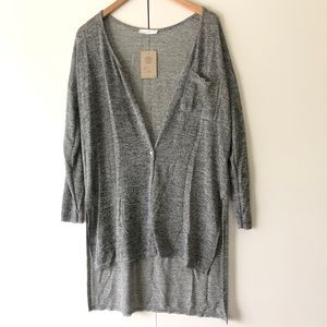 Lush Grey Thin Knit Cardigan Sweater
